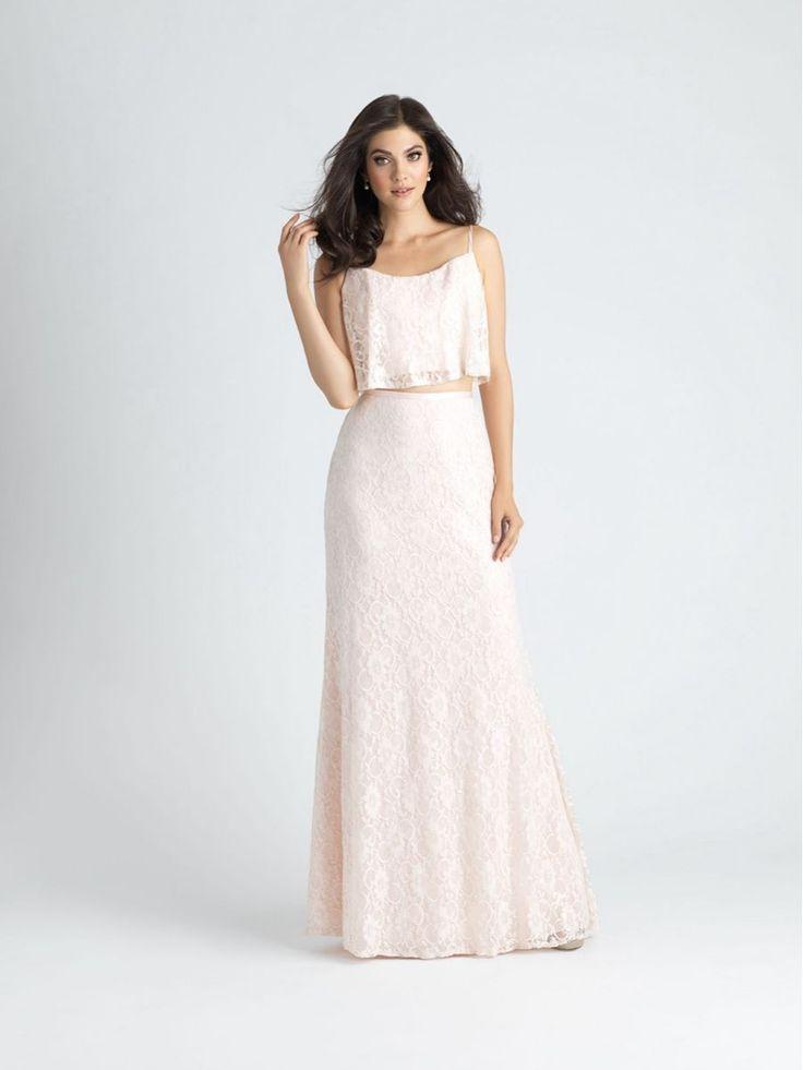 Elegant Lace Two Pieces Spaghetti Straps Long Wedding Party Bridesmaid Dresses 1006016