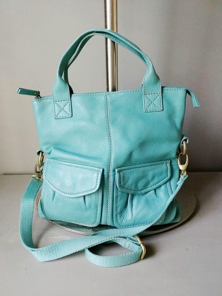 Vintage Handbag Fossil Blue Leather Handbag, Totebag, Shoulderbag by RestorologyVintage on Etsy