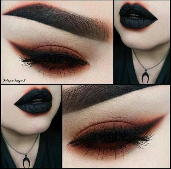Mega sexy dark gothic eyes, eyebrows, and lips. Simple but beautiful. I would love to see this with purple