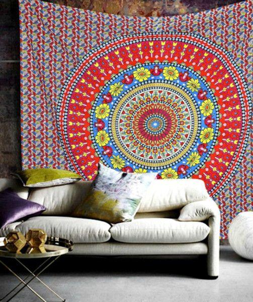 Mandala Bohemian Yoga Wall Queen Bed Boho Tapestry