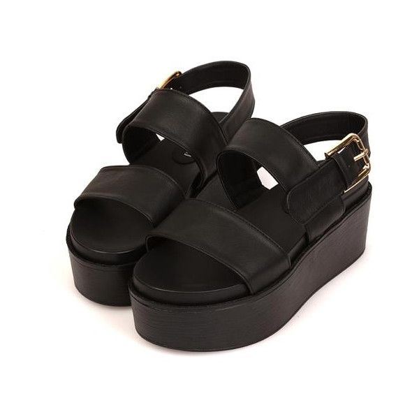 HELGA Flatforms ($29) ❤ liked on Polyvore featuring shoes, sandals, black, footwear, black strap shoes, flatform platform sandals, flatform shoes, black strappy shoes and black sandals