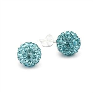 Light blue Crystal Ball Stud Earrings