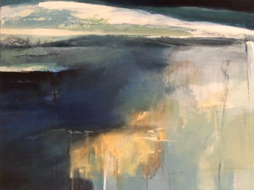 Reasons to Believe-abstract landscape by Joan Fullerton Mixed Media ~ 30 x 40