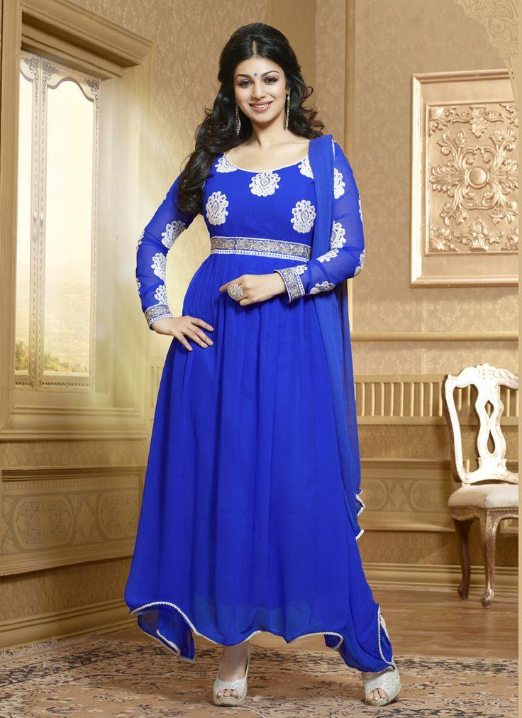 Blue Georgette Party Wear Churidar Suit Shop Now : http://www.cfashionbazaar.com