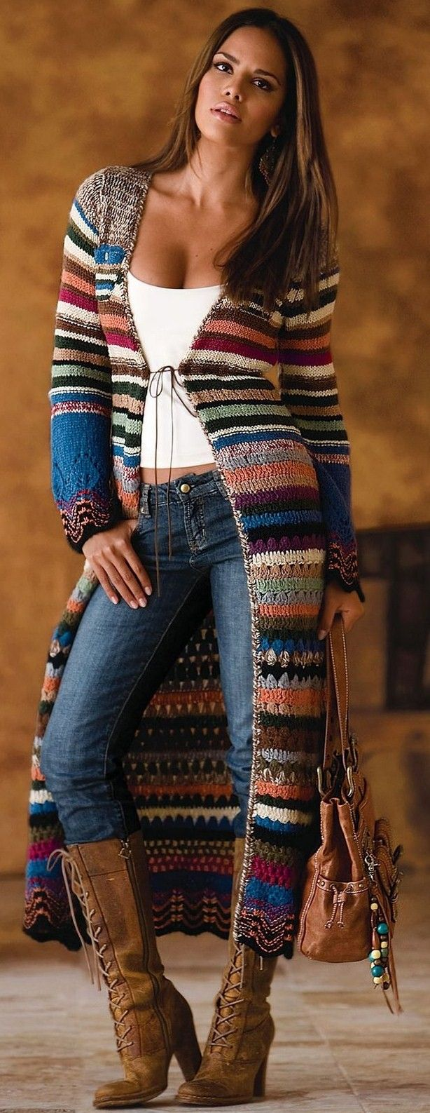 The striped crocheted coat in boho or jeans style…