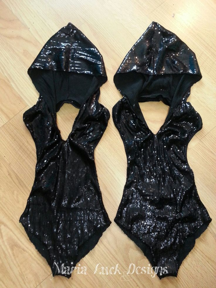 Black sequined unitard with hoodie sexy costume  for by marialuck, $99.00