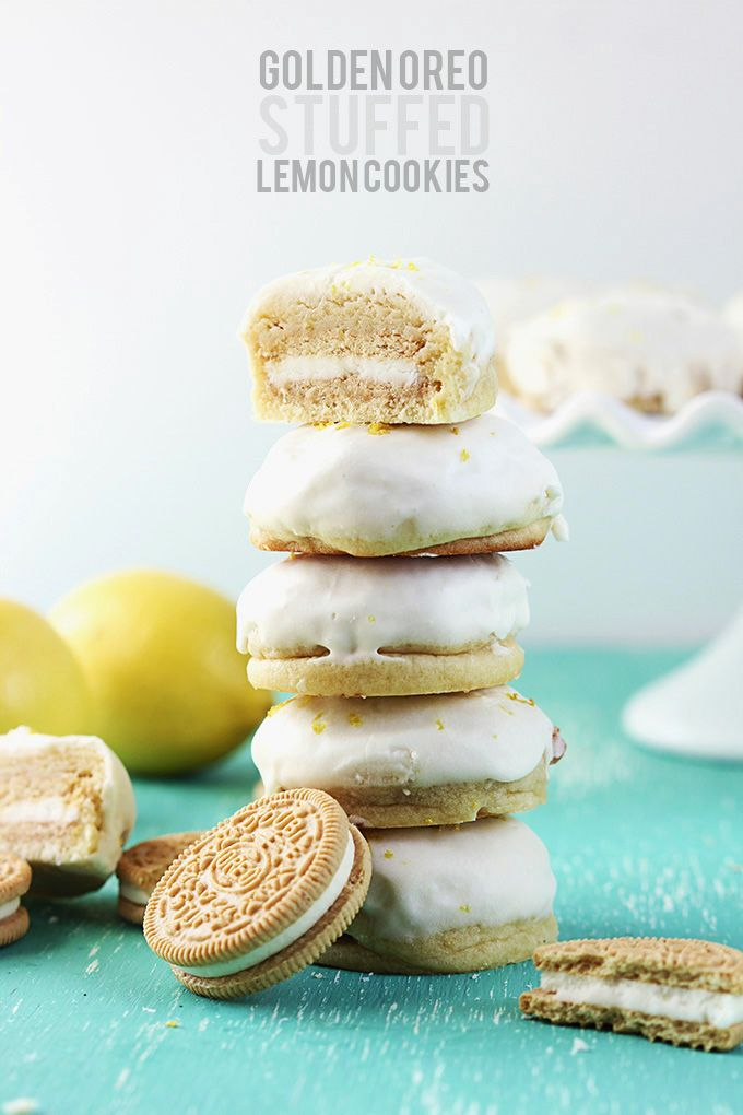 Soft, melt-in-your mouth lemon cookies STUFFED with golden Oreos and frosted with lemon icing. » Whoa!!