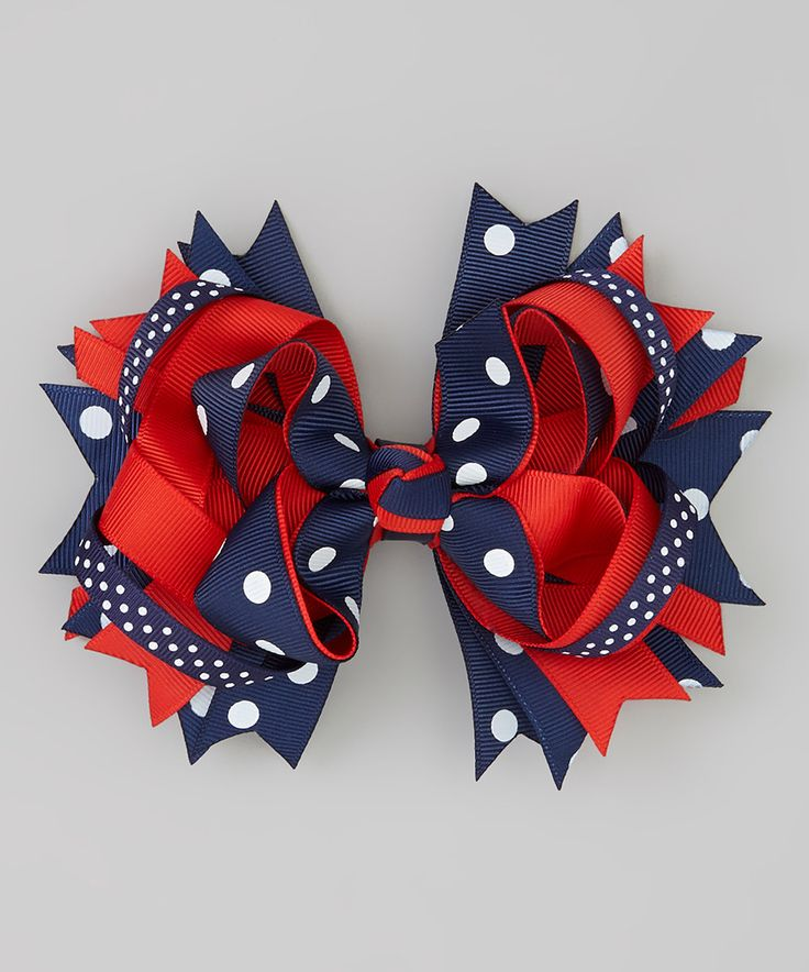 Loving this Bubbly Bows Navy & Red Polka Dot Princess Bow Hair Clip on #zulily! #zulilyfinds