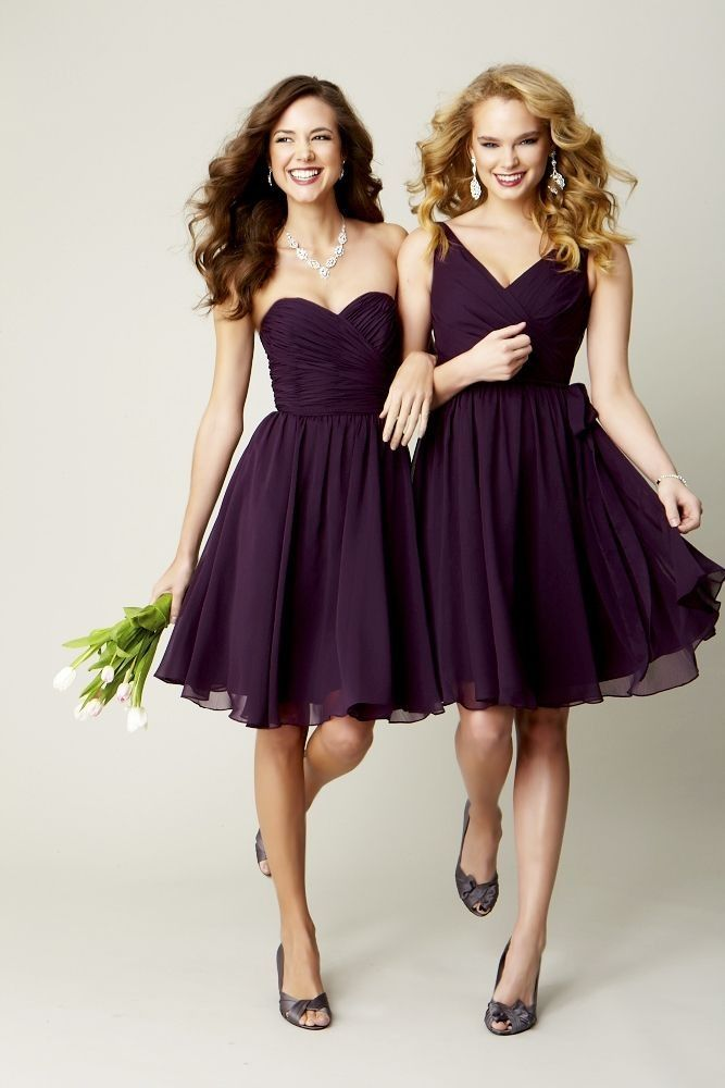 Short plumb colored strapless bridesmaids dresses