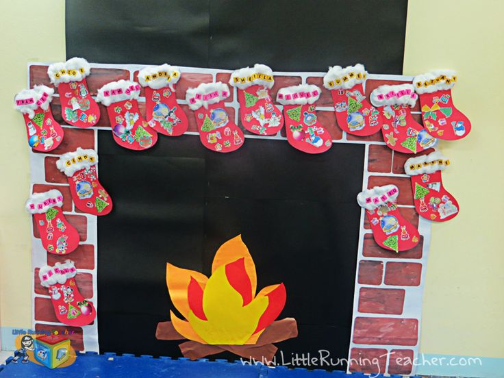 Christmas Classroom Door Decorations Fireplace