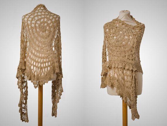 boho chic wrap woman lace shawl cotton by AnnaHandmadeknitwear