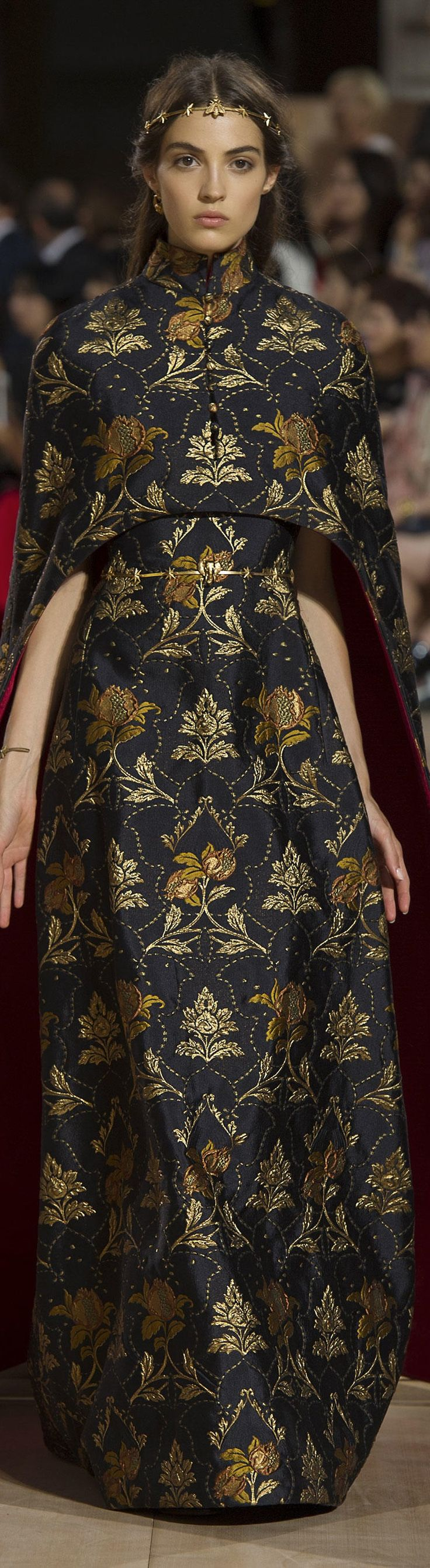 Valentino ~ Couture Copper + Gold Embroidered Maxi Dress w Cape 2015