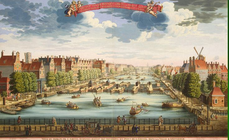 View of Amsterdam with a Bridge Crossing the Amstel River and the Building of the Orphanage by Daniel Stoopendael
