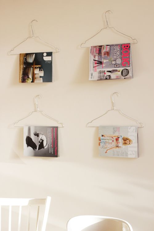 Clever DIY solution for both excess magazine storage and empty wall space. Great for those covers that are so beautiful they alone can be your art work.