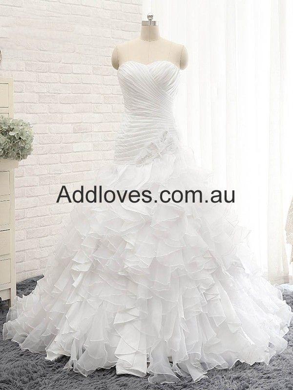 Mermaid/Trumpet White Sweetheart Organza Wedding Dresses