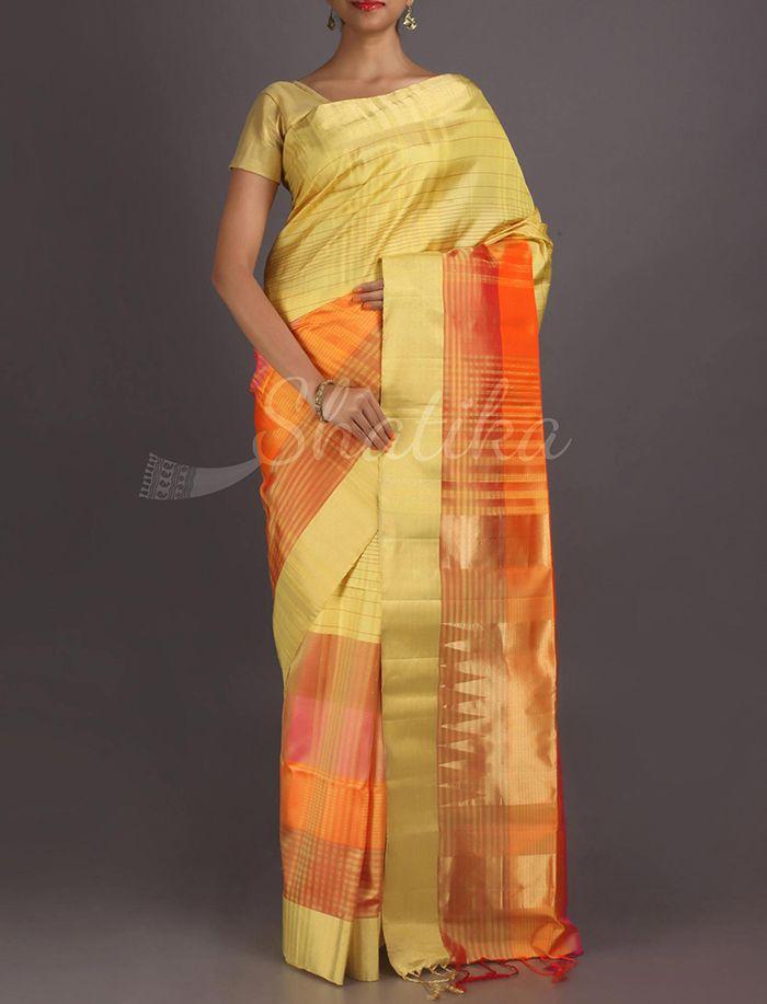 Jaya Fine Criss Cross Of Lines Pure #PattuSilkSaree