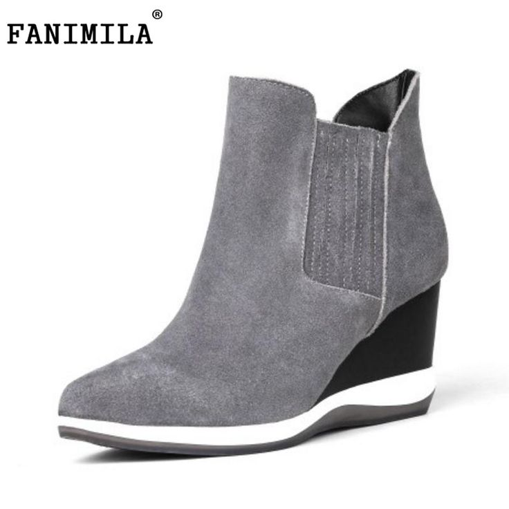 FANIMILA office lady real leather high wedges boots women pointed toe trifle solid color dily dating female footwear size 34-39 #Affiliate