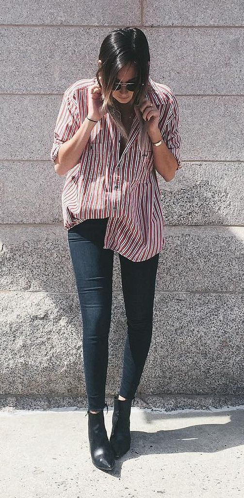 An Oversize Striped Shirt, Skinny Jeans, and Black Booties