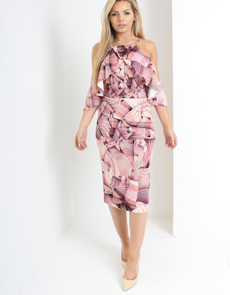 Kevan Jon Pink Pearl Frill Dress in Pink | Accent Clothing