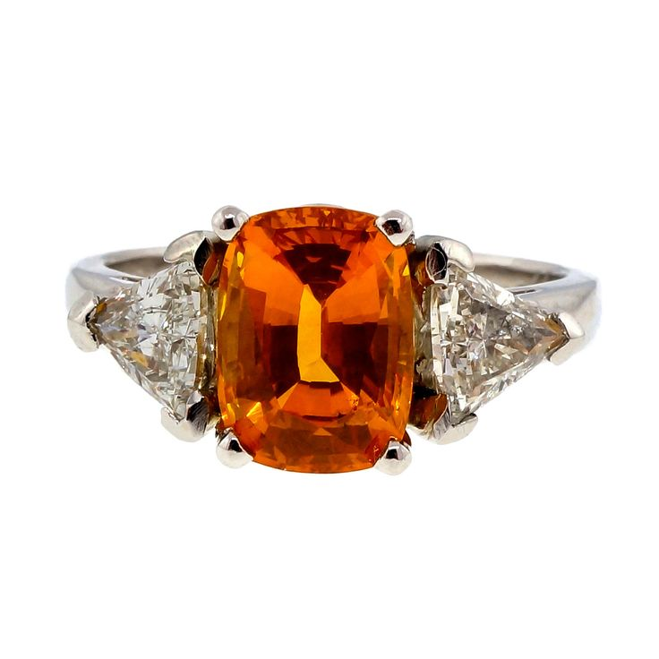 Vintage 1970 2.89ct Orange Yellow Sapphire Platinum Diamond Engagement Ring