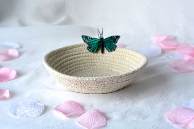 Cute Desk Accessory Bowl, Handmade Butterfly Basket, Modern Clothesline Basket, Lovely Ring Tray,  hand coiled natural rope basket by WexfordTreasures on Etsy