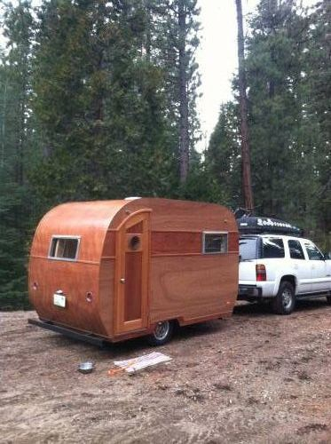 """Hand crafted """"Woody"""" canned ham travel trailer"""