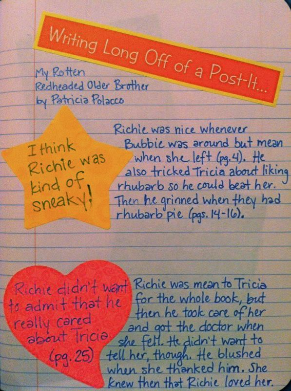 A Literate Life - Reader's Notebook--really like the idea of elaborating on a thought from a post-it note (or annotations)--good assignment for Windows to the World
