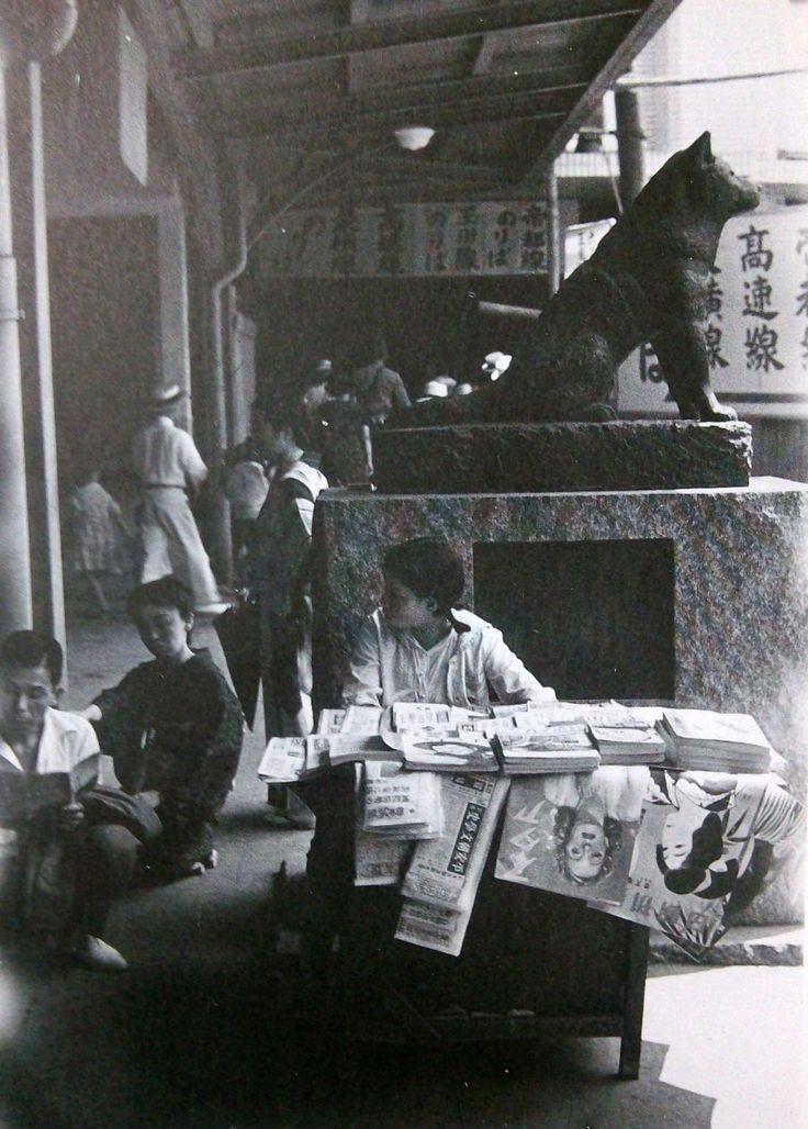 忠犬ハチ公. Japanese child manning newsstand.