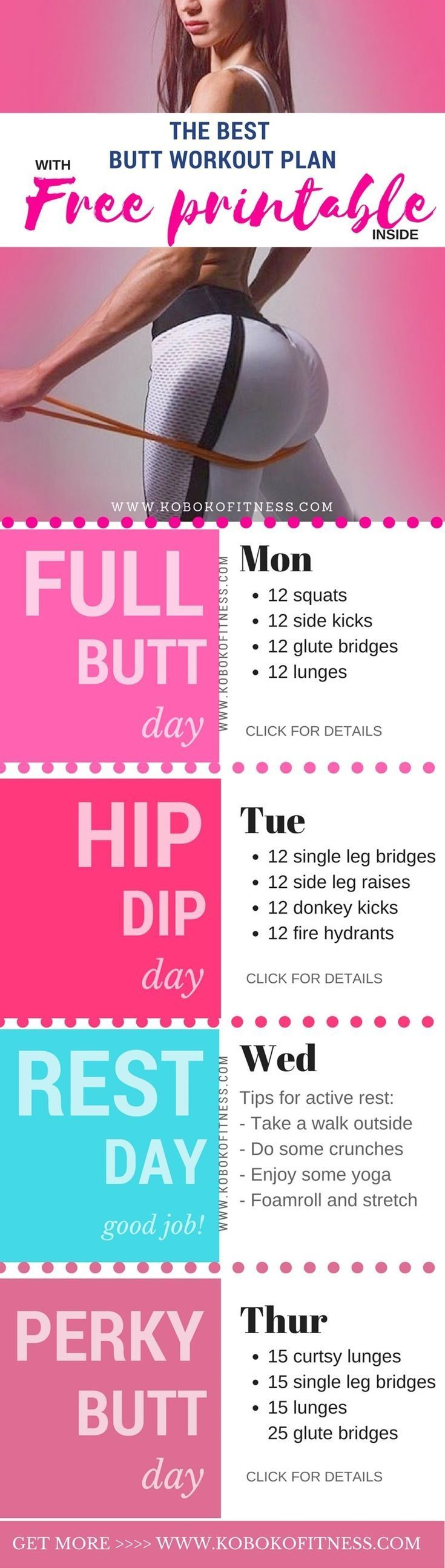 The perfect butt workout plan with free printable for your fridge. You can easily get a perky butt, fix your hip dips, and get the booty your dreams