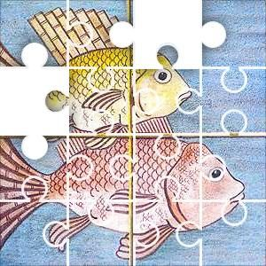 Two Fish Tiles Jigsaw Puzzle, 67 Piece Classic. Two fish on four ceramic tiles. yellow red,