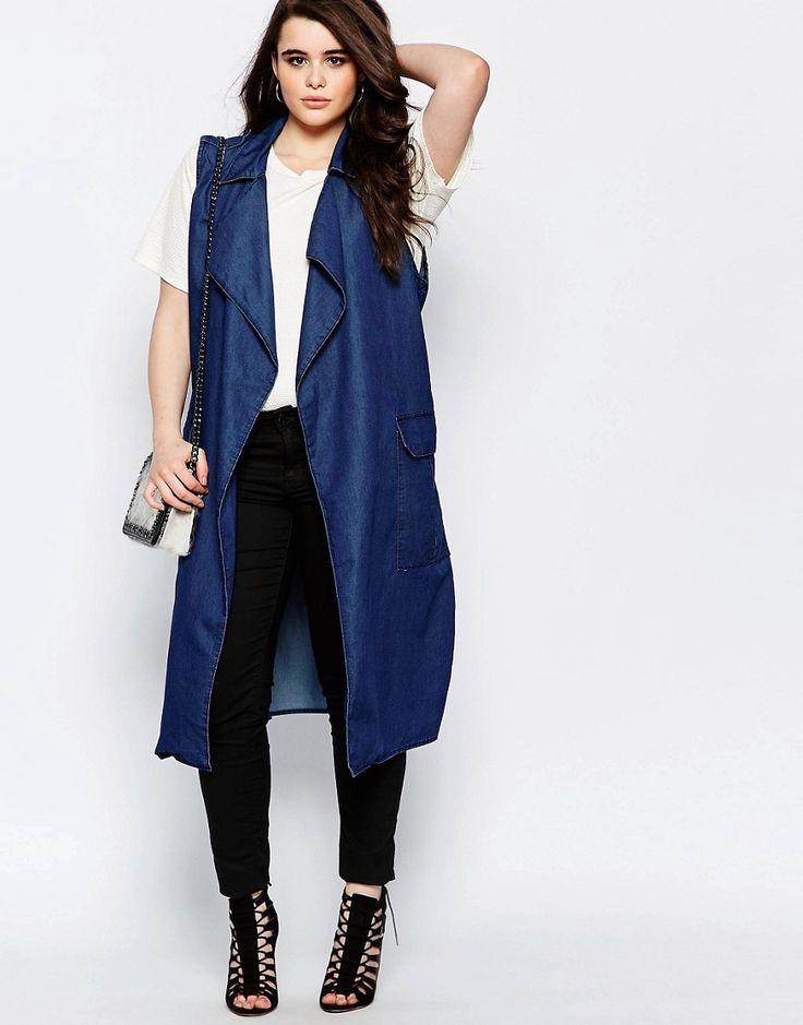 Image 4 - Boohoo Plus - Veste en chambray de jean sans manches