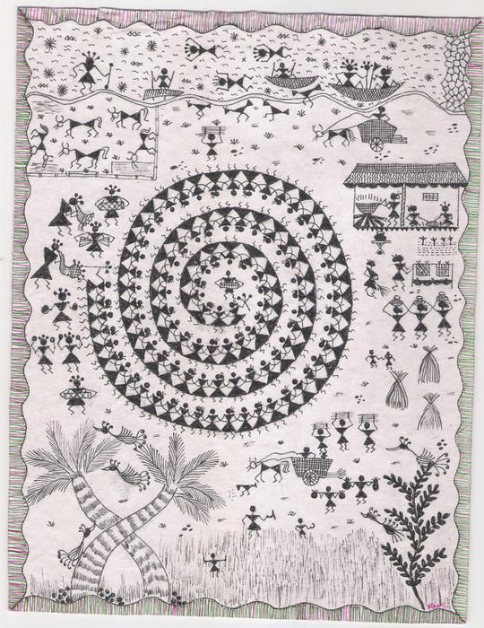 Warli painting on festival. There are paintings for any arise and festival such as birth, marriage, holi, surya shasti, kali puja, Upanayanam (sacred thread ceremony), and durga puja.