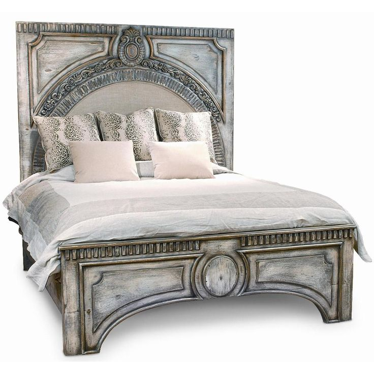 Ornate gray wash amelie bed spanish style spanish for Spanish style bed