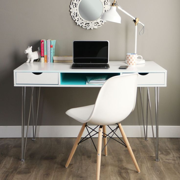 Constructed from high-grade MDF with a beautiful painted finish and supported by chrome steel hairpin legs, this desk features a color accented storage cabinet and pull out drawers for a stylish look that adds the perfect pop of color to your living area.