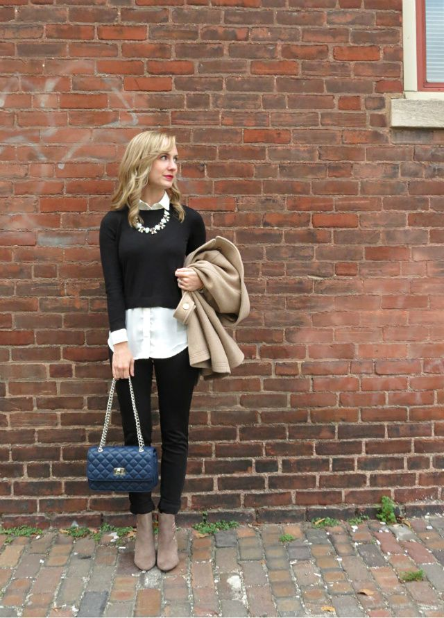 J Crew majesty peacoat, 2-in-1 sweater, navy quilted chain strap bag, cutout ankle booties