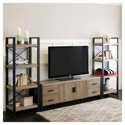 70″ Wood Media TV Stand Storage Console – Driftwood – Saracina Home, Brown