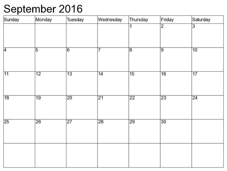 September 2016 Printable calendar PDF