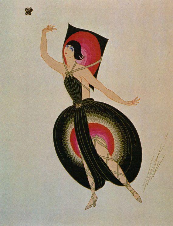 Erté Print, Art Deco Dress Design. Original Vintage Art Print. Sumptuous Eye…