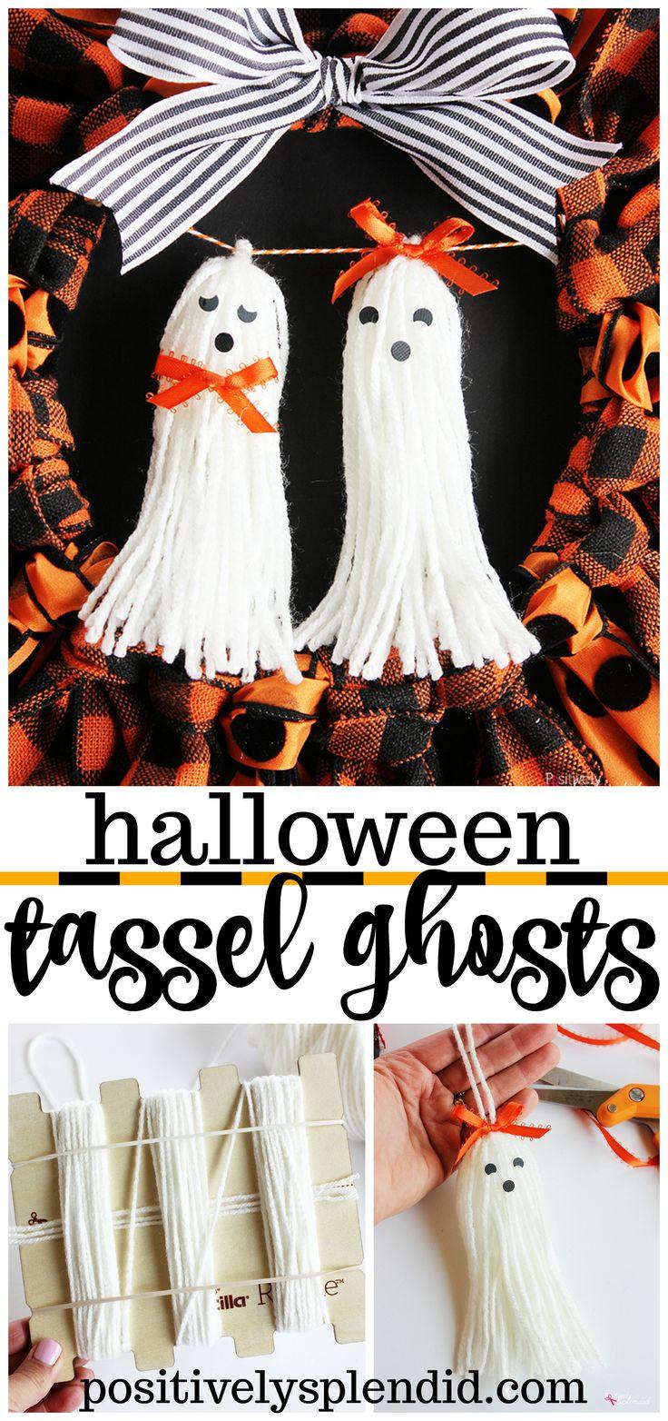 Halloween tassel ghosts--such a fun and easy Halloween craft idea!