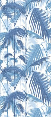 #Cole and Son Palm Jungle wallpaper blue white print pattern interior