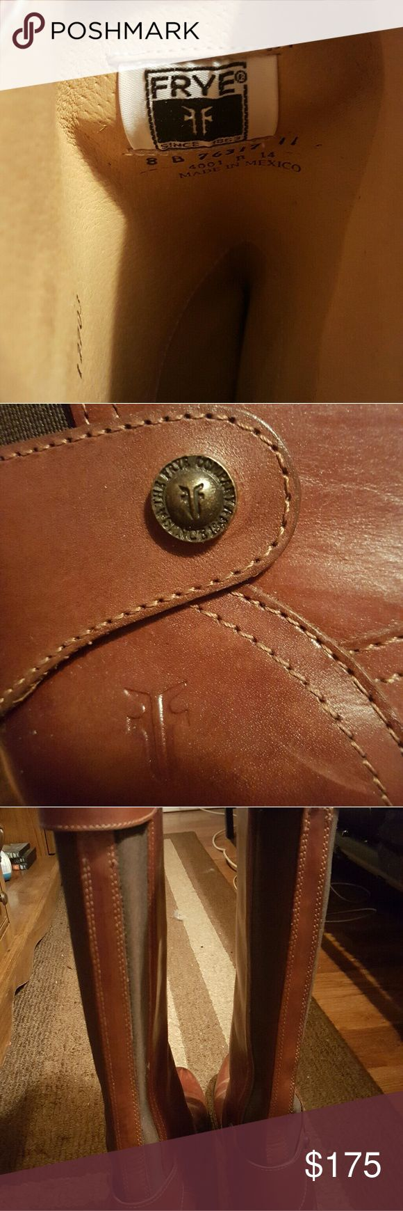 Frye Riding boots size 8 These boots are beautiful. If they fit, I wouldn't sell them. My sister got them for me and they didn't fit and have been collecting dust, breaks my heart. Wore them one time to see if I could get over the 1/2 but I couldn't. Frye Shoes Heeled Boots