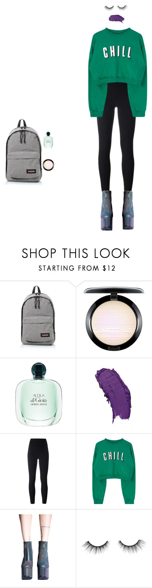 """La rouge à lèvres violet à l'école"" by excessive-yawning ❤ liked on Polyvore featuring beauty, Eastpak, MAC Cosmetics, adidas Originals, Y.R.U. and tarte"