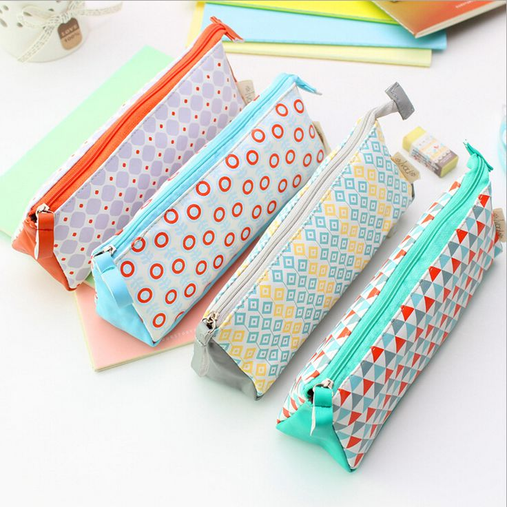 Cute Pencil Cases Oxford Fabric Waterproof Pencil Box Printing Striped School Pencil Case For Girls(