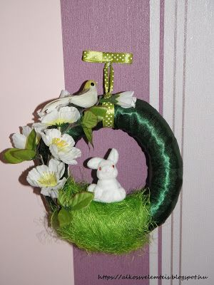 Tavaszi ajtódísz. Diy spring wreath.