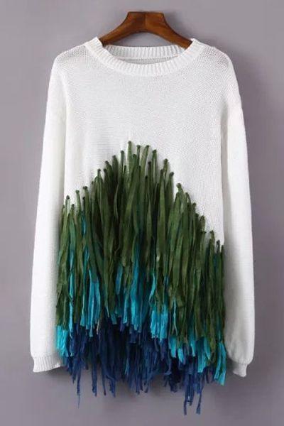 Colorful Tassels Spliced Sweater - $21,73 in Zaful