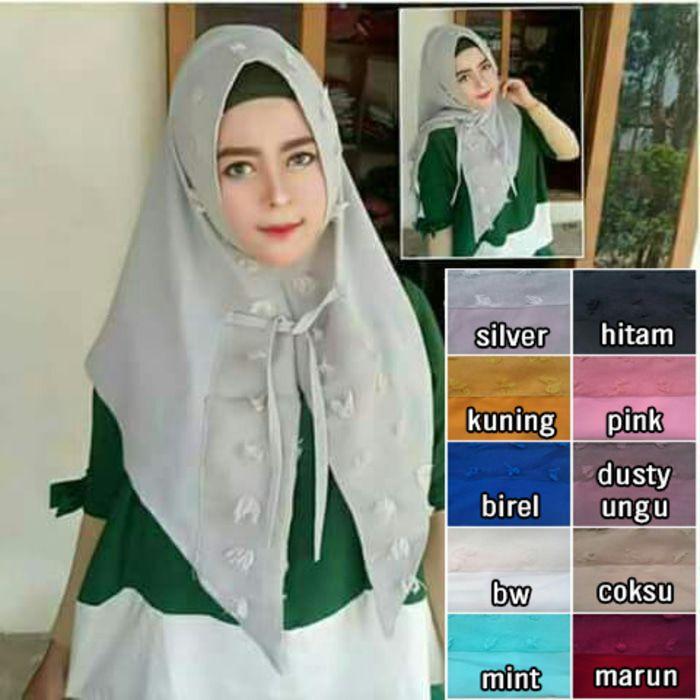 jilbab instan Triangle Rubiah (ver ekonomis) diamond crepe, Jilbab instant 1x slup model segitiga, dengan variasi linen rubiah dan tali di bagian depan jilbab, jaman now