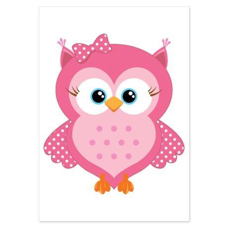 Sweet Pink Cartoon Owl 3.5 x 5 Flat Cards