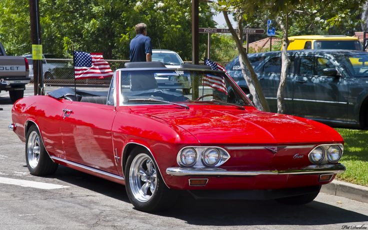 """A Chevrolet Corvair Convertible...my very first car, in '67. My little demon had a souped-up sound system (which is why it's on my """"Music Board"""")...a pair of Radio Shack speakers connected to a D-cell battery-powered portable cassette player! By the way, Prince wrote a song about this little red Corvair, then decided the lyrics needed more panache....and that's how that song about the Corvette was born! (ha, ha!)"""