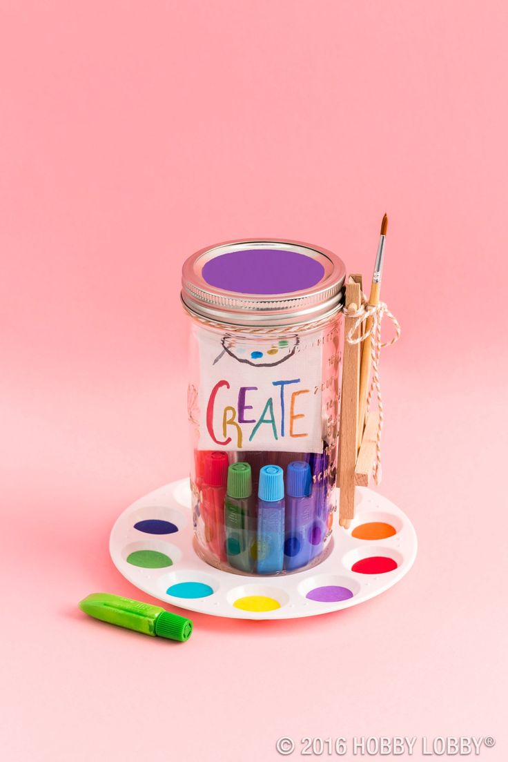 Hobby lobby craft bags - From Hobby Lobby Fill A Mason Jar With Colorful Paint And Brushes For A Gift That Allows Their Creativity