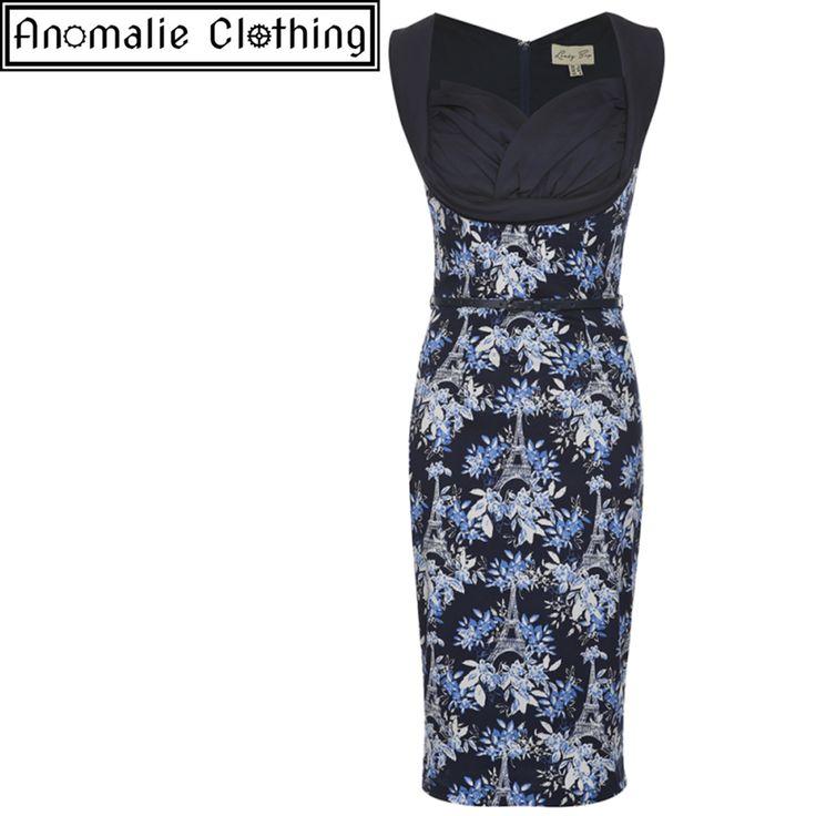 Vanessa Wiggle Dress in Navy Blue Eiffel Print